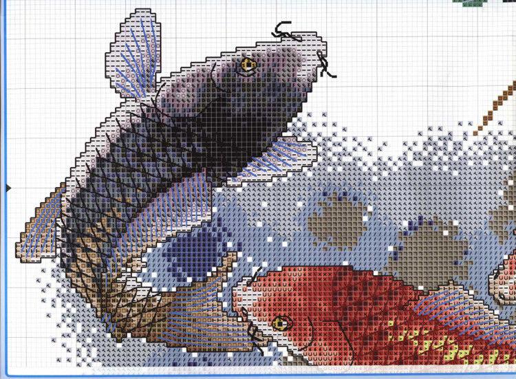 Вышивка крестом рыбки фото