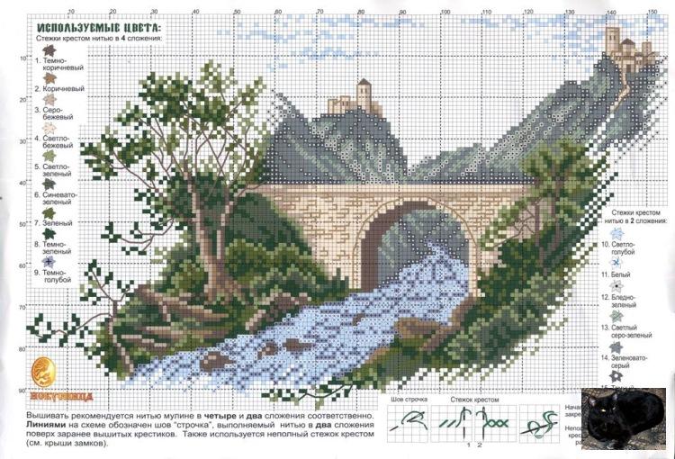 Вышивка крестом схема река