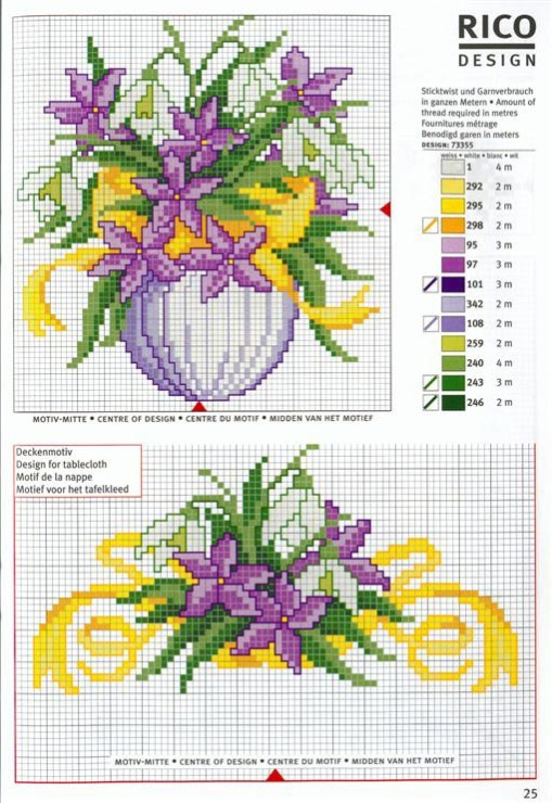 Вышивка крестиком схемы букетов