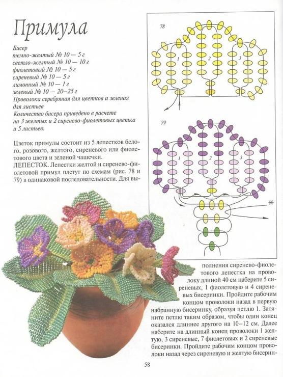 Цветы и букеты бисером схема