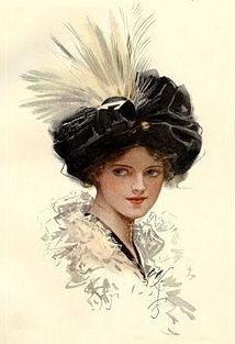 Вышивка дама в шляпе с пером 42