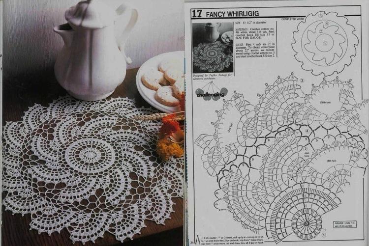 Необычная ажурная салфетка спицами - описание, схемы фото