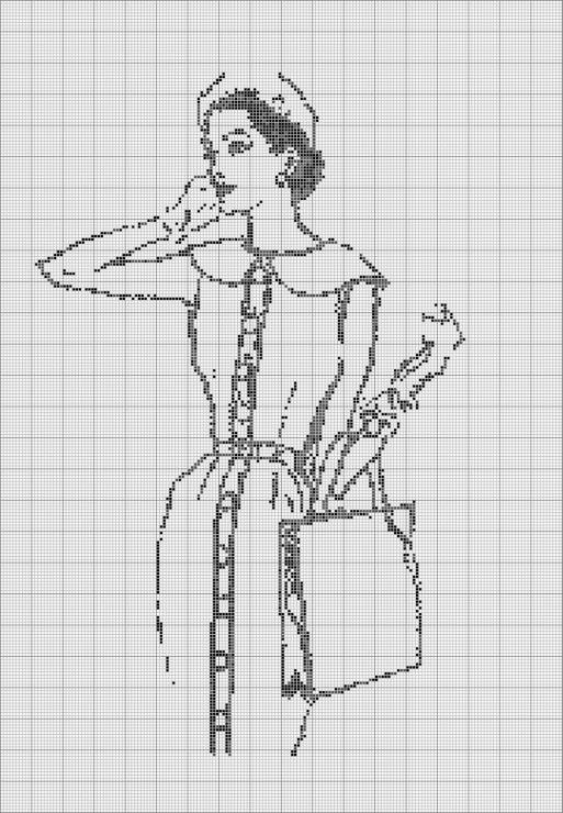 Монохромные вышивки крестом девушки схемы 31