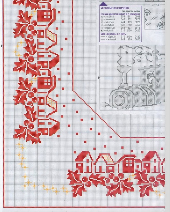 Схемы для вышивки крестом новогодние на скатерти 977