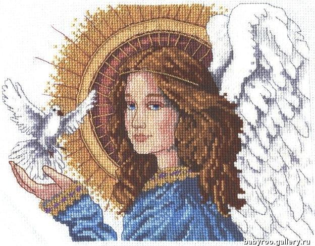 Схема к вышивке ангелочек с голубем