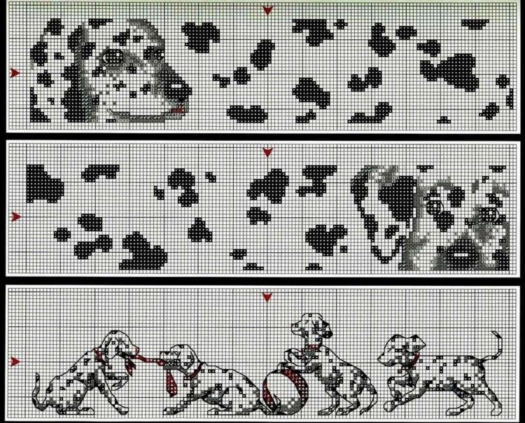 Схемы вышивки с далматинцами 101